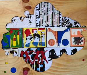 Woodmix, collage, ply, prints, cloth, acrylic on ply, 2012. Lorna Grear