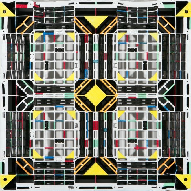 Lorna Grear Colour Crate, 100 cm x 100 cm, oil on plastic, 2013