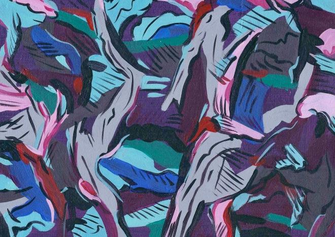 Lorna Grear Purple Parade acrylic on board, 21 x 15 cm, framed, 2017