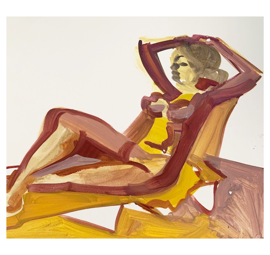 23/ Laid Back Lulu                               /gouache on art board   	57x42cm / framed /